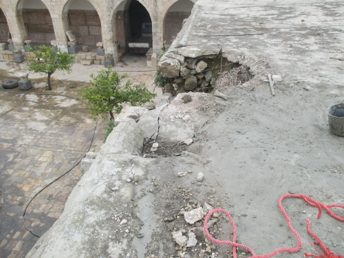 Damage to the roof of the Ma'arra Mosaic Museum