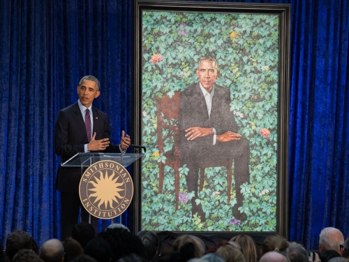 President Obama with his portrait