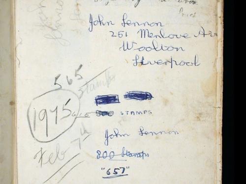 John Lennon's signature in stamp album