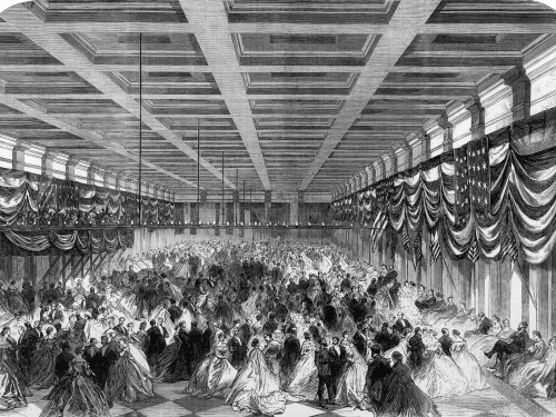 Lincoln's Inaugural Ball inside the Patent Office Building in Washington, D.C.