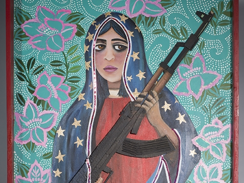 Painting of woman holding a gun