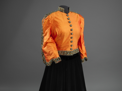 orange and black ensemble