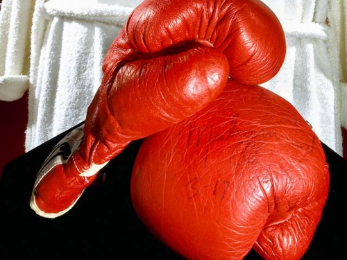 Autographed red boxing gloves