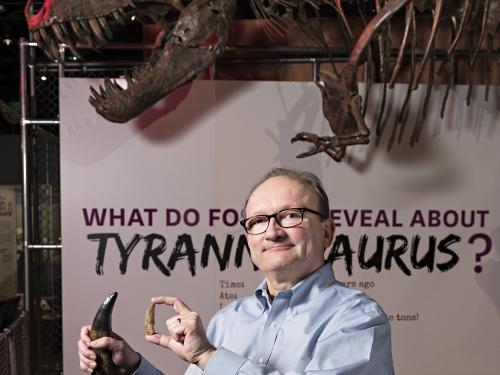 Hans Sues with dinosaur teeth
