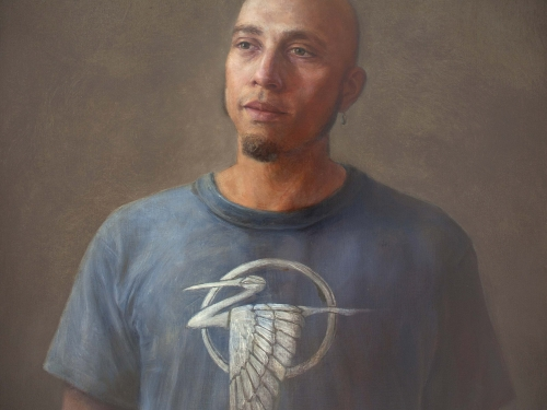 Portrait of Chavez in tshirt