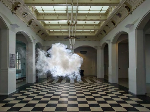 puff of smoke in room