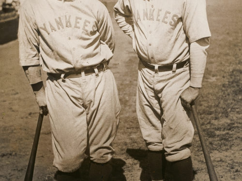 Ruth and Lou Gehrig posing in uniform