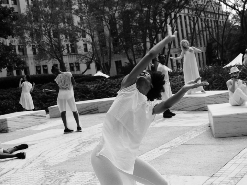 Black and white photo of dancers in performance