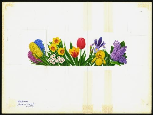 stamp art of spring flowers