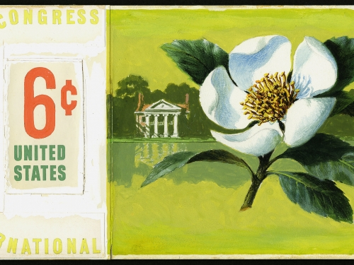 Stamp art showing magnolia flower