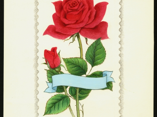 stamp art of rose