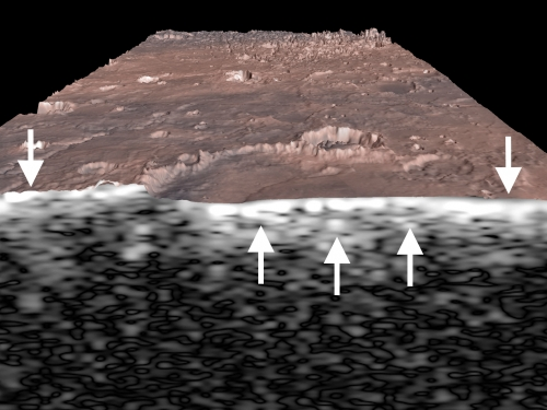 section view of Mars surface