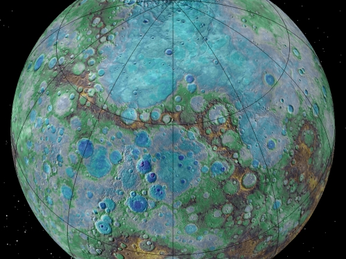 Colorized image of planet Mercury