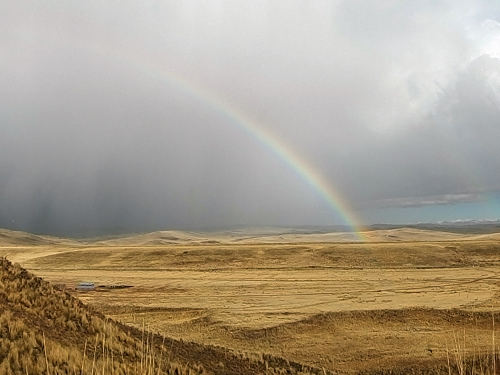 panoramic shot of rainbow