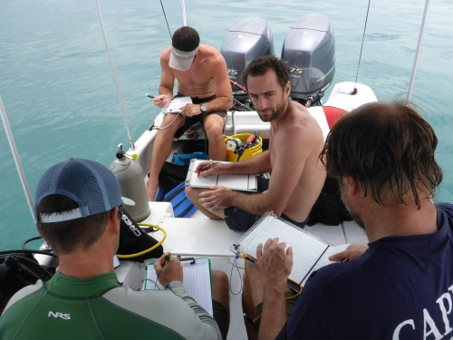 Researchers on boat