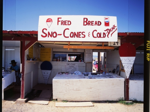 Shack selling fried bread and sno cones