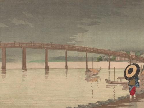 View of Tokyo's Shin-Ohashi bridge in Rain