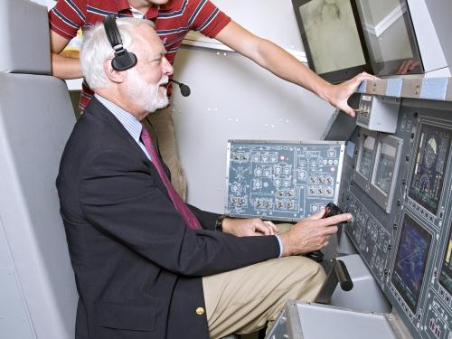 Secretary Clough in Flight Simulator
