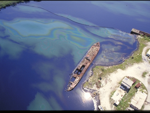 oil spill seen from above