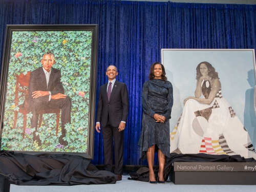 Obamas with their portraitds