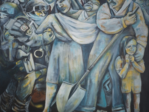 painting of crowd of immigrants