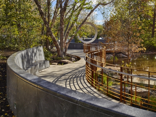 National American Indian Veterans Memorial as approached via walkway