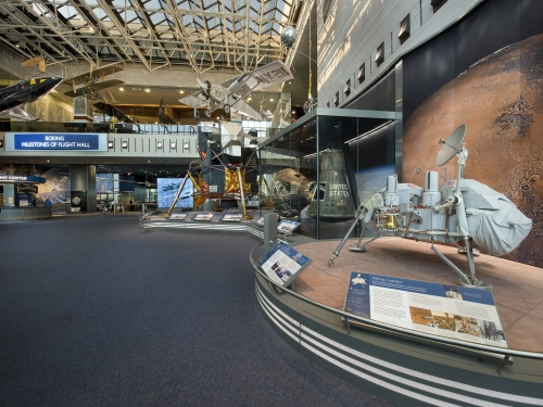 Milestones Hall with Viking lander in foreground
