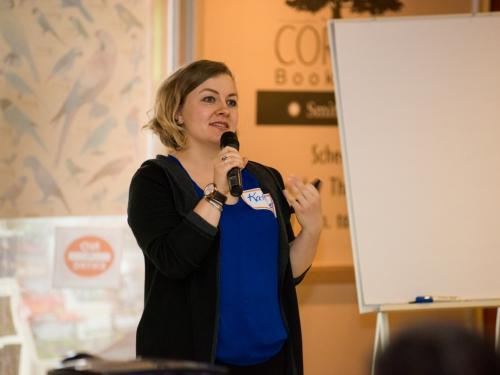 Katherine Blanchard with microphone