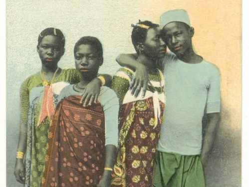 Hand-colored photo of African family