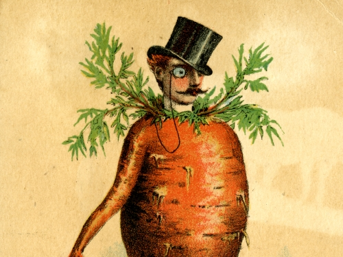 Seed catalog ad showing carrot with top hat and cane