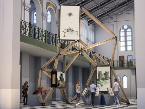 Rendering of exhibit with technology