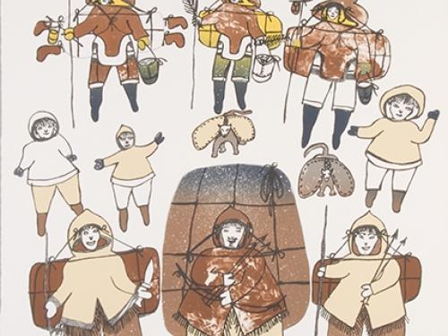 Folk art drawing of Inuit people