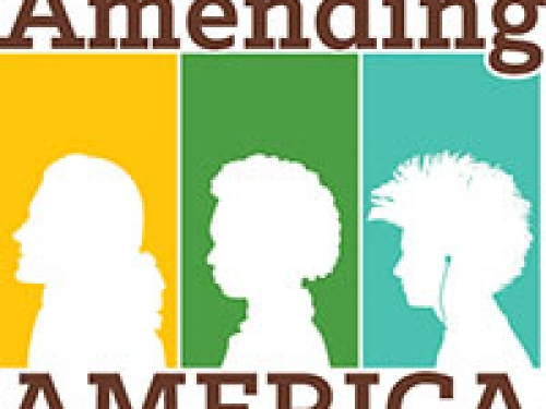 "Logo for ""Amending America"" featuring three silhouettes"