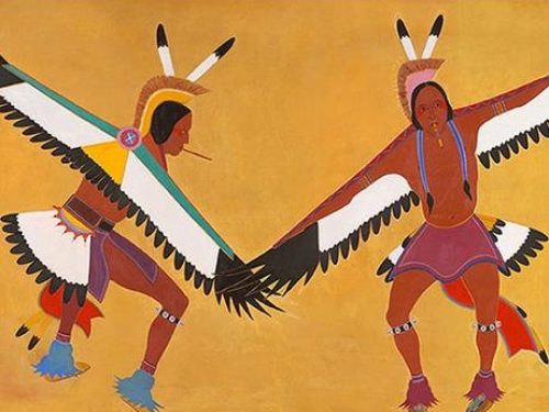 Indians at the Post Office - Two Eagle Dancers