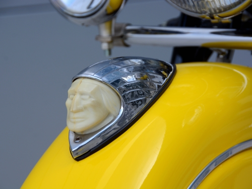 Close up of Indian Chief detail on motorcycle fender