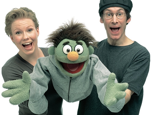 Jennifer Barnhart and Rick Lyon with the Avenue Q puppet, Nicky