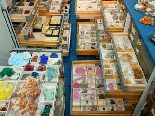 perspective shot of gem and mineral collection
