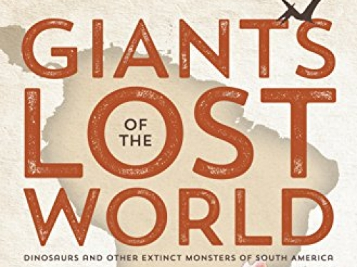 Book cover showing dinosaurs