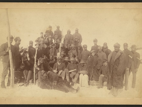 Sepia photo of group of Buffalo soldiers