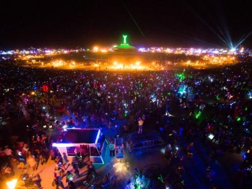 Burning Man festival at night