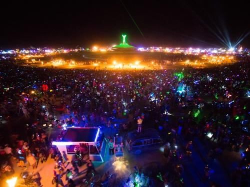 Burning man camp at night
