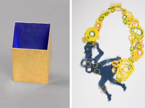 Side by side photos of avant-garde jewelry