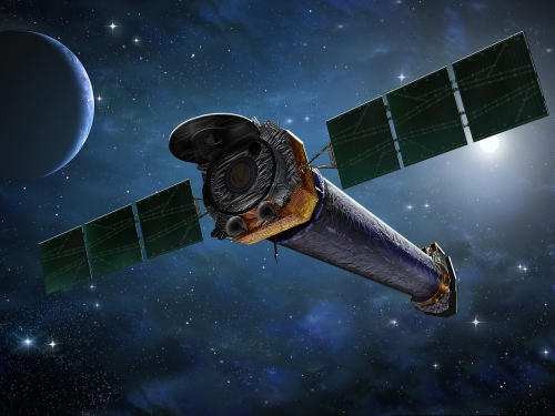 Illustration of space station and interstellar objects