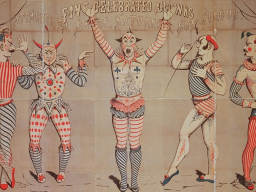Circus poster featuring five clowns