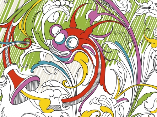 Page from fragile Beasts coloring book