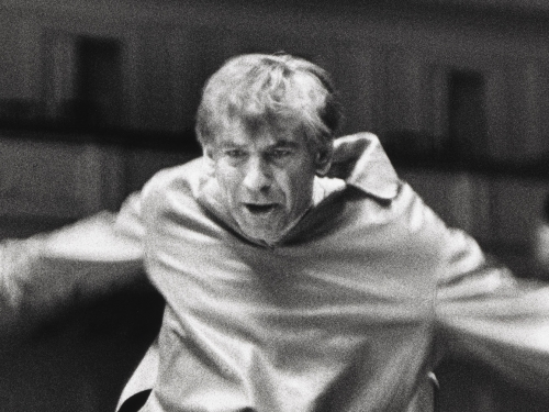 Close-up of Leonard Bernstein conducting