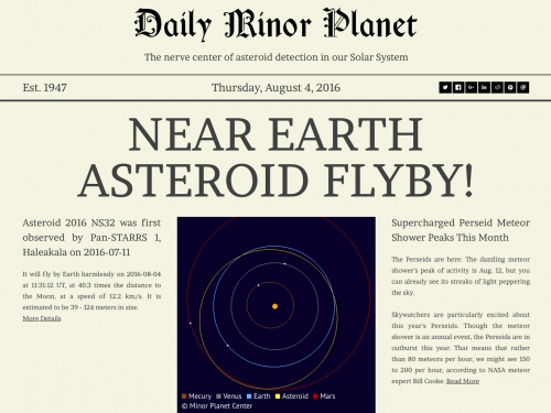 Front page of Daily Minor Planet