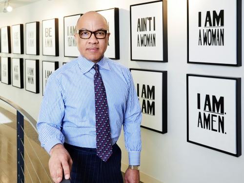 Darren Walker in art gallery
