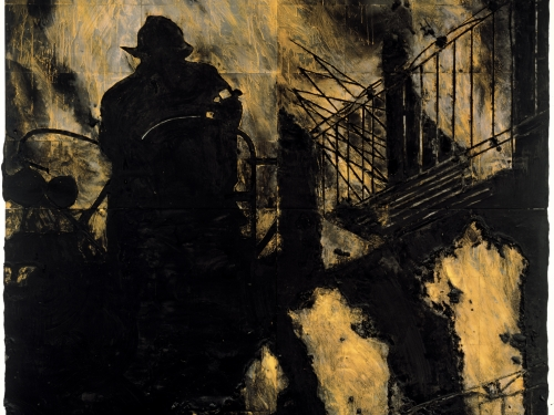 Dark-toned painting showing firefighter in silhouette