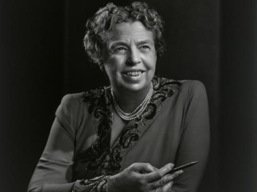 Black and white photo of Eleanor Roosevelt